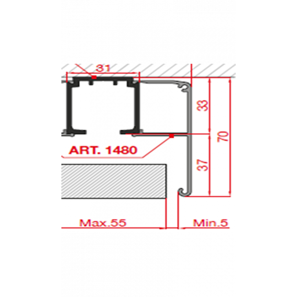 TRACK-D 1480/200 Декоративный профиль 2м.