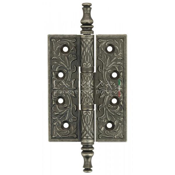 Дверная петля универсальная Extreza 6110 латунная с узором 102x76x4 античное серебро F45 (1шт.)